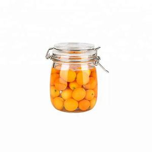 500ml 1000ml 1500ml 2000ml round square airtight food container glass jar with clamp lock lid