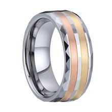 expensive luxury bicolor handmade real 14k rose and yellow 1 gram gold jewellery men's wedding party jewelry tungsten ring