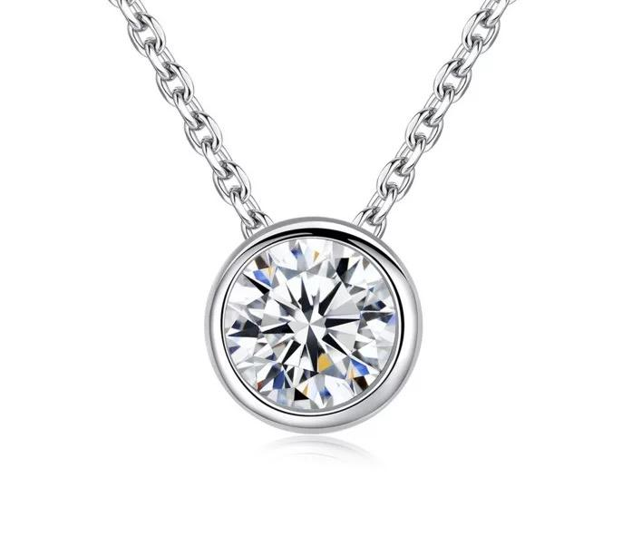 Wholesales Fashion Pendant 12 Month Color Birth Stone 6 mm Cubic Zirconia with 925 Silver woman Girl Necklace