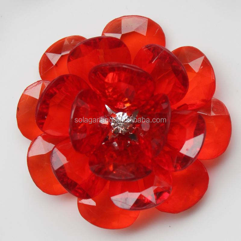 Lowest Price 54MM Transparent Plastic Petal Beaded Flowers Made of Beads Handmade Jewelry Making