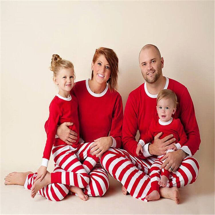 100% Cotton christmas family pajamas stripe kids pajamas