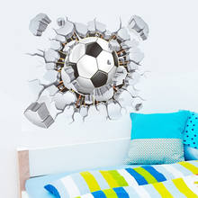 Football Soccer ball through the wall wall decals room decor 3d wall stickers kids boys room decoration