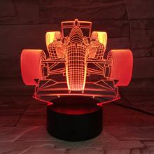 F1 Racing Car Art 3D Night Lamp Cool Night Light Children Home Decor 3D Illusion LED Lamp Gift for Children Kids Baby
