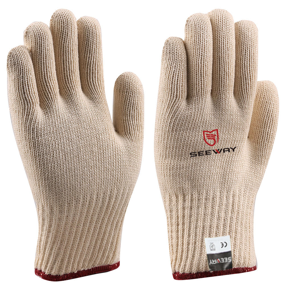 Cotton [ Cotton Knitted Gloves ] Cotton Cotton Oven Glove Seeway Double Layers White Cotton Knitted Kitchen Microwave Oven Heat Insulation Gloves For Hot Objects Scald Prevention