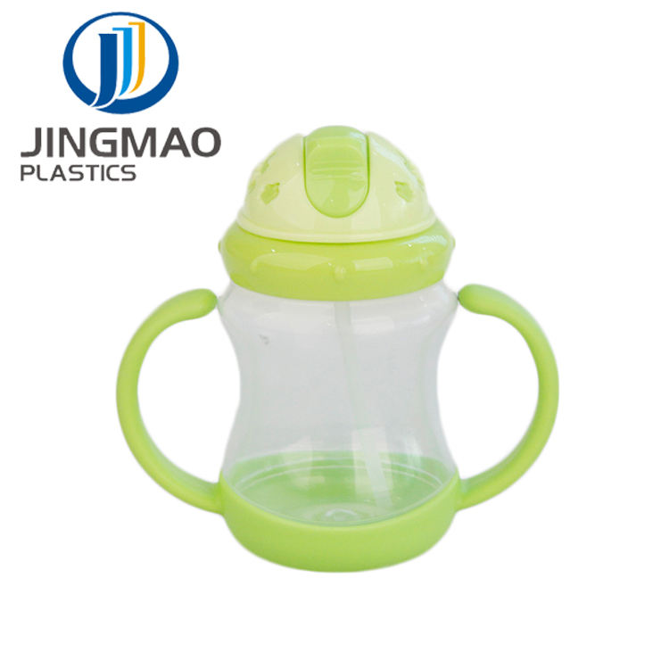 Cute Baby Feeding Bottle Learn Feeding Drinking Water Straw Handle Bottle Training Cup Baby clear pp plastic Food Cup