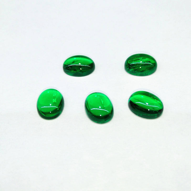 Cabochon Oval Shape Emerald 6x8mm Synthetic Gemstone Jewelry