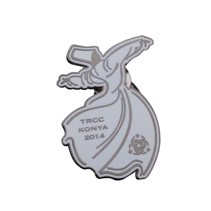 Reunión cuadrada logo metal nombre deportes diseño pins badge con cinco estrellas