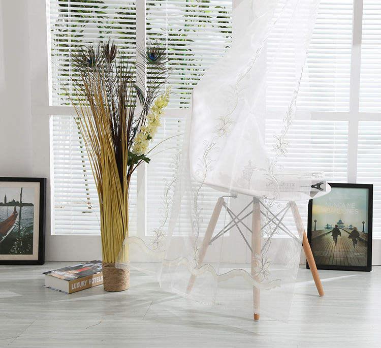 дешевые французские плиссированные белые цветочные вышитые шторы органзы ткань занавеса