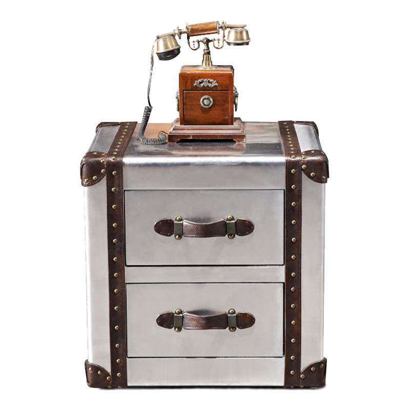 vintage boxes metal side table Industrial Cabinets aluminum storage trunk