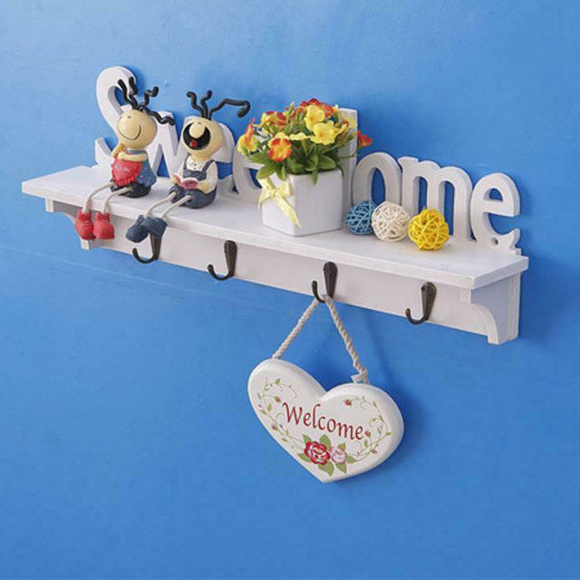Letters Wall Shelves Sweethome Wooden Key Coat Storage Holders Rack Home Decors