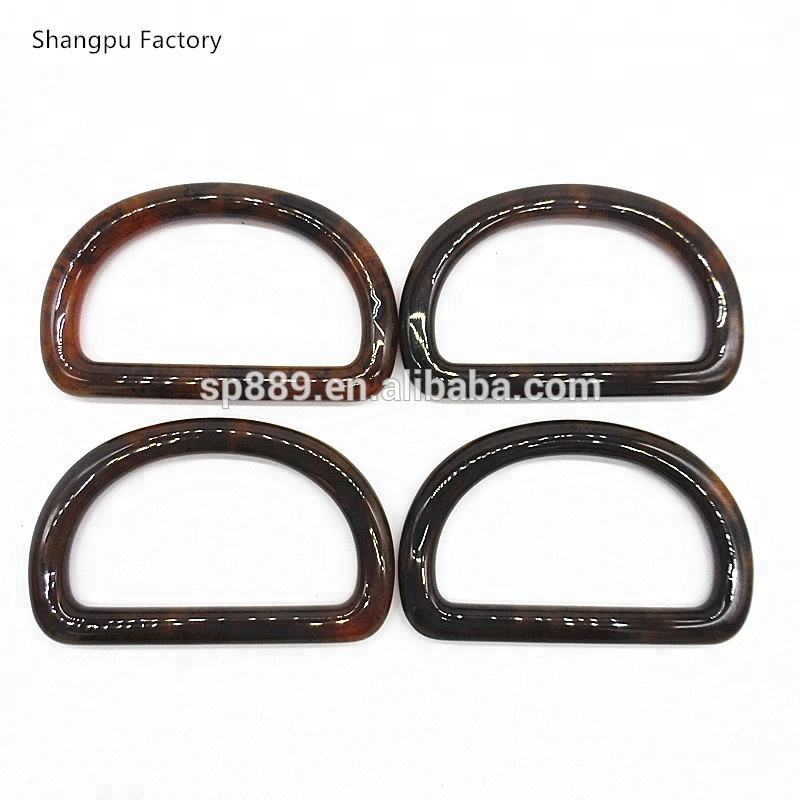 Plastic D ring handles for handbags H-009 handles Tortoise and pearl colors handles