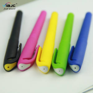 simple and cheap promotional plastic colorful rubber gel ink pens