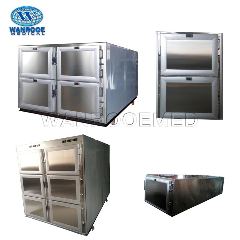 GA Medical Cryogenic Equipment One Two Three Four Six Bodies Stainless Steel Funeral Freezer Mortuary Refrigerator