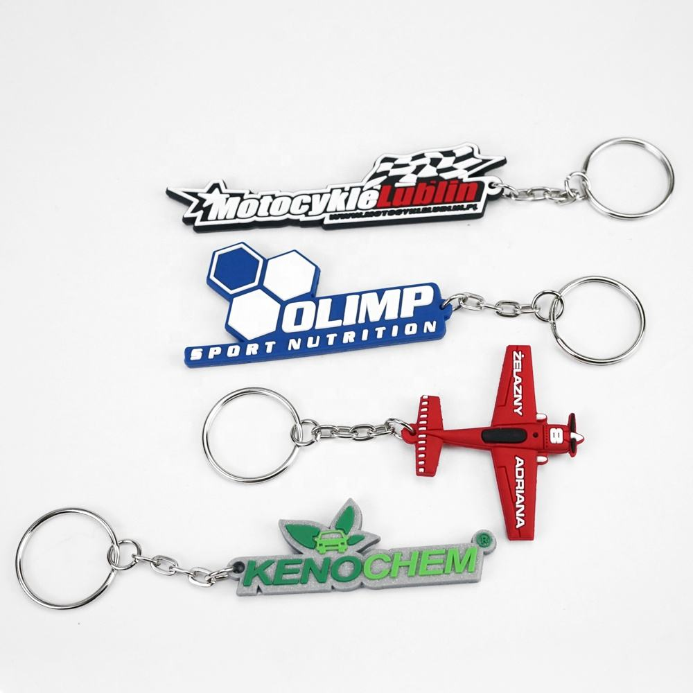 Manufacture soft pvc keychain cheap OEM fashion logo custom promotional semi-transparent 3d rubber keychains