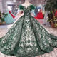 LS11091 2018 latest design sweetheart lace applique prom dresses new style sweetheart sequin luxury emerald green evening dress