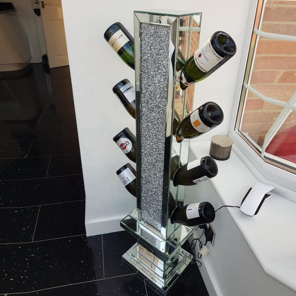 UK style hot sales crushed diamond floating silver mirrored wine bottle holder
