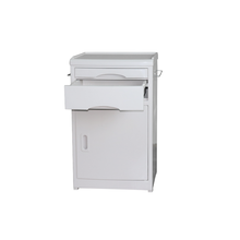 High Quality Hospital ABS Plastic grey Bedside Cabinet A medical bedside table with a drawer and oversized storage space