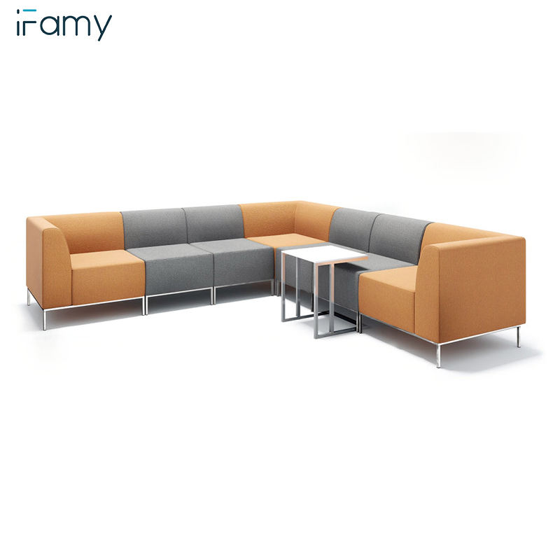 Office reception furniture couch armrest fabric sofa for waiting room