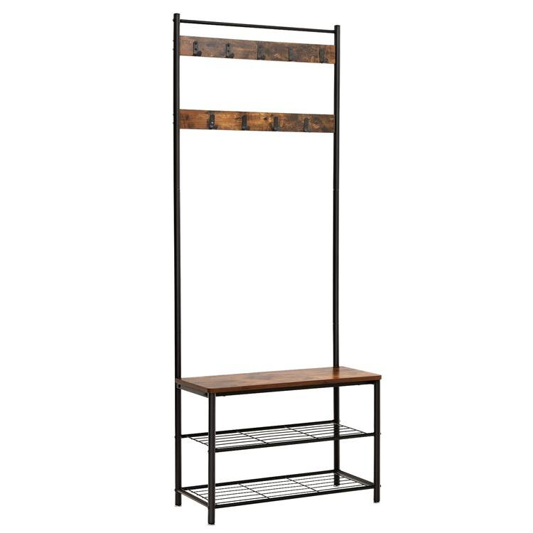 VASAGLE Industrial Hall Coat Tree, Hallway Shoe Rack and Bench with Shelves and wood metal hall tree with hooks