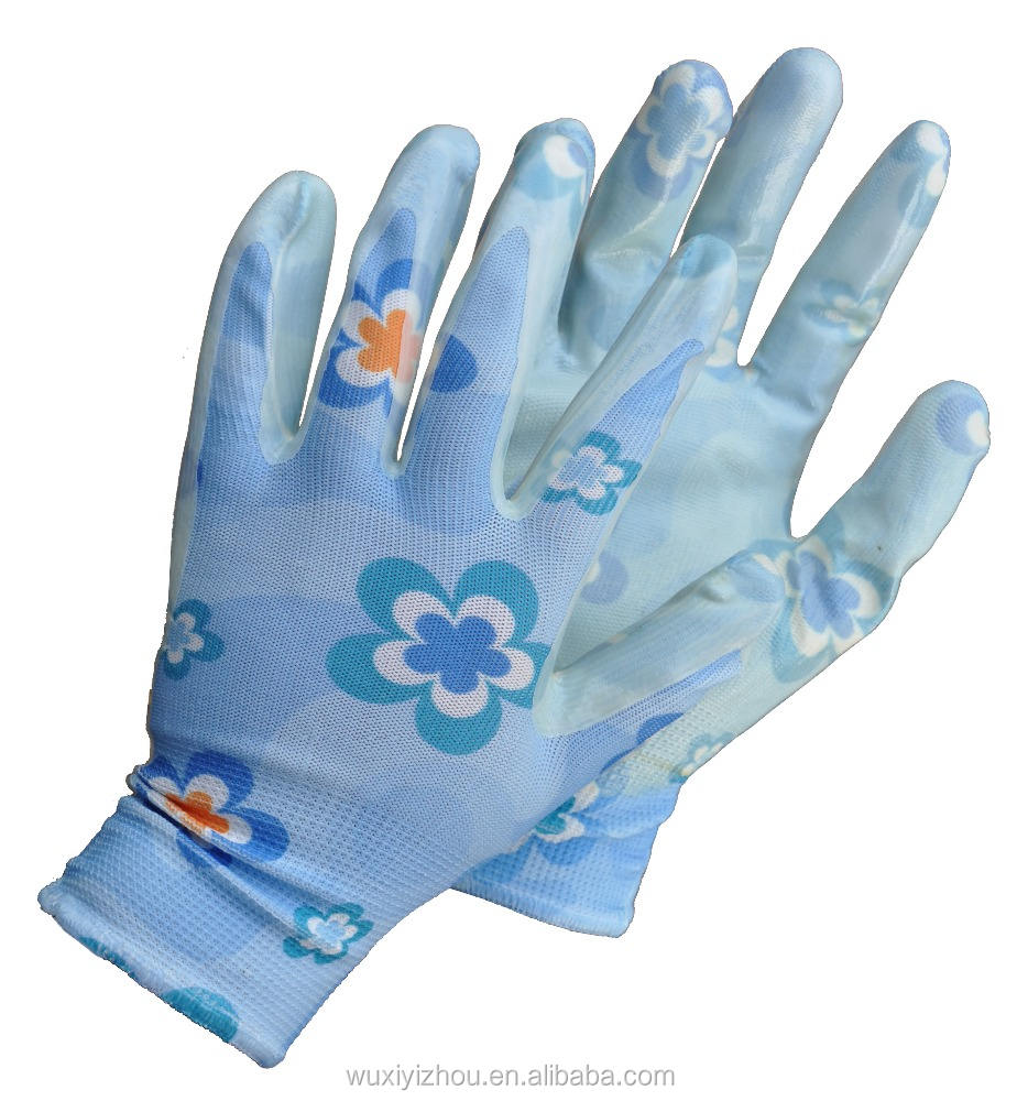 China good quality cheap Nitrile work gloves printed with flower