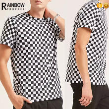 Custom Mens Urban Wear Checker Men Printing T Shirt