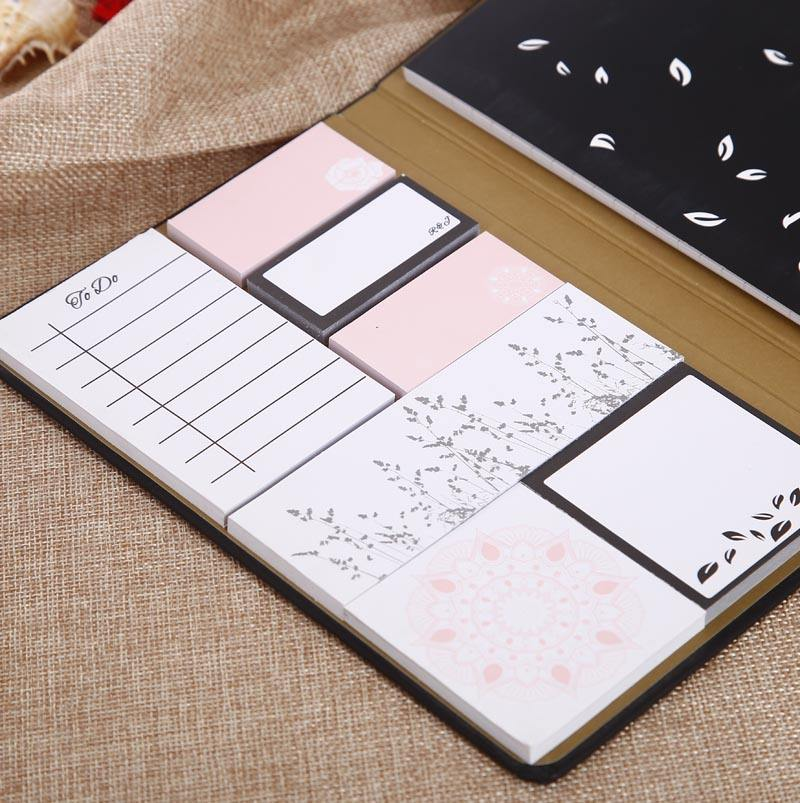 Promocional notebook incluem papel sticky notes memo pad set para guias