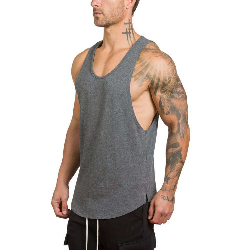 Men's Classic Breathable Sleeveless Bodybuilding Fitness Muscle Workout Gym Singlet 2019