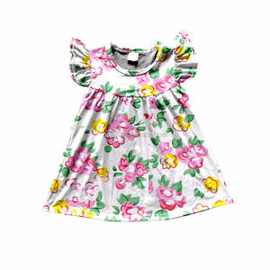 Yiwu Queyi Smile Garment Factory cute pink flower printing sleeveless white summer baby girls dresses