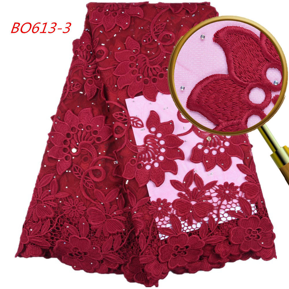 1634 Free Shipping 3D Flowers Embroidery Fabric Wine Color Lace Fabric Embroidery