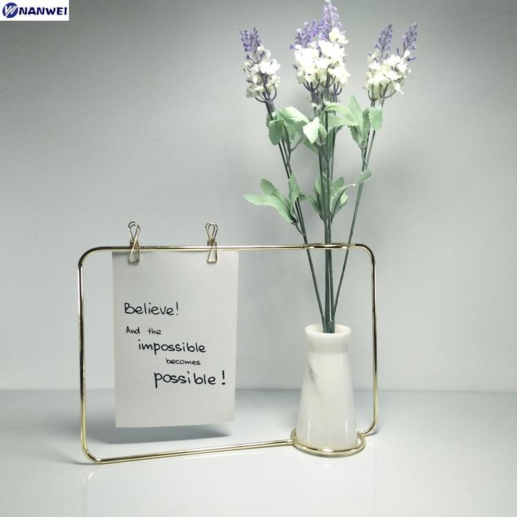 Home decoration stone crafts with metal for dried flower vase