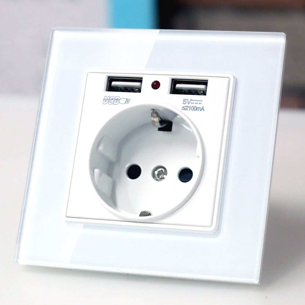 EU muur Power plug Socket met usb outlet, Glas 2A Dual USB Charger plug stopcontact, 16A 2100ma Elektrische Stopcontact