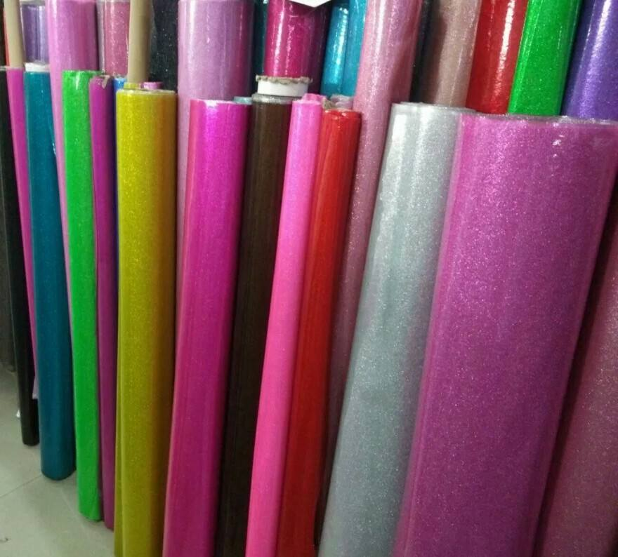 Shiny glitter sheet leather Crystal Glitter Mirror Transparent Clear PVC Plastic Film Roll Vinyl for Bags Crafts Decoration