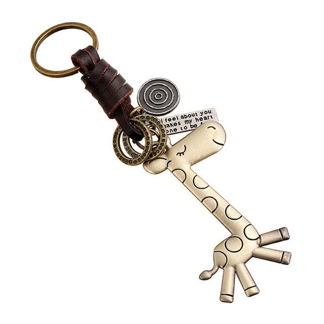 Frete grátis criativo chaveiro Homens & Mulheres liga adorável giraffe malha retro corky chaveiro pequeno presente