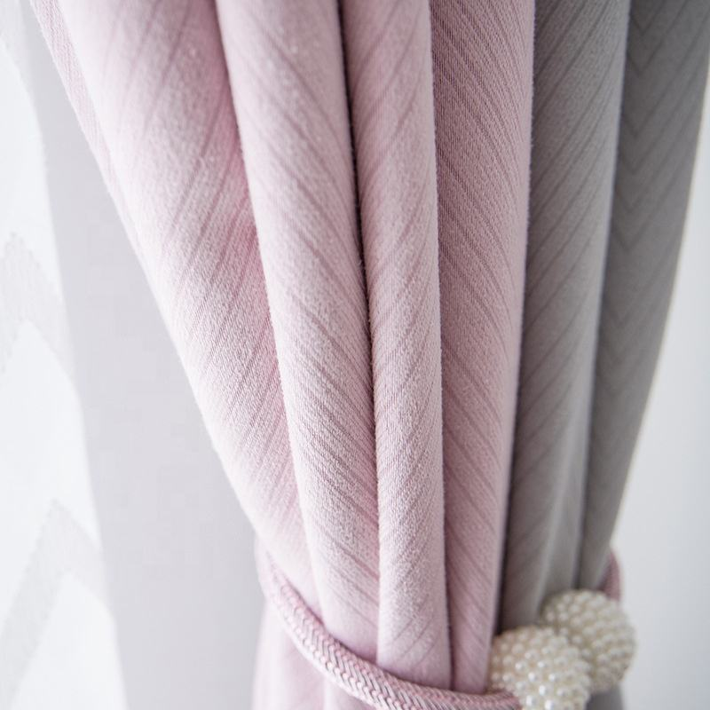 Modern faux cashmere jacquard pink and grey joint ready made window curtain and drapes for bedroom & living room