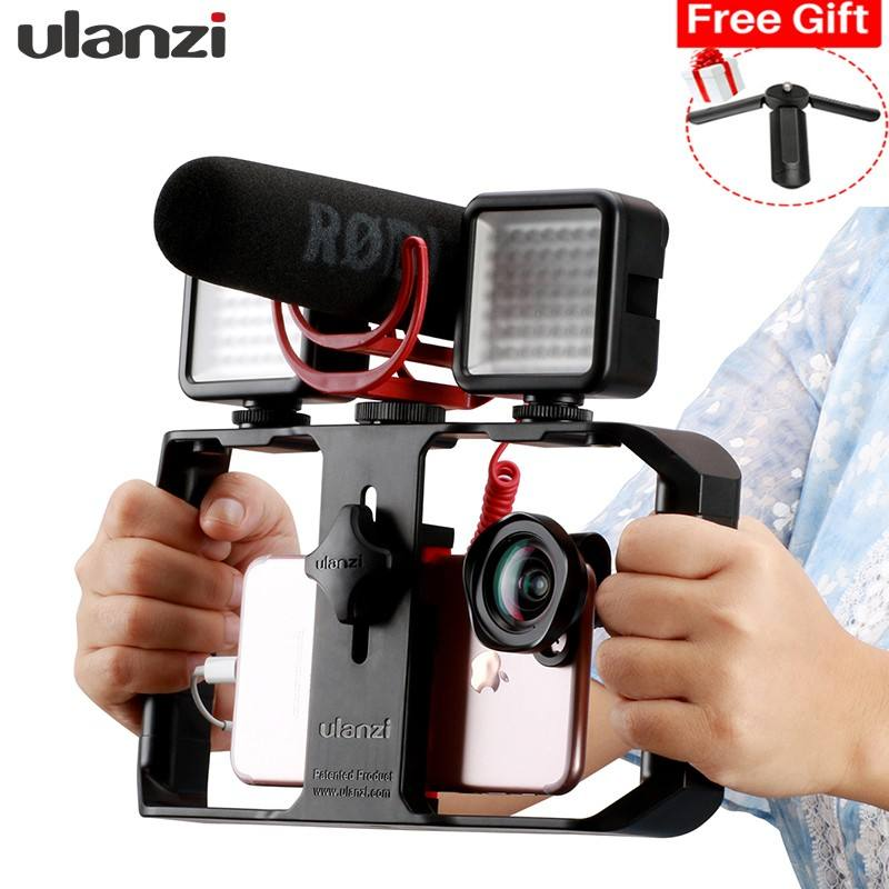 Smartphone Handle Rig Triple Hot Shoe Mounts Video Stabilizer Vlog Grip for Mobile Filmmaker for by-mm1 microphone Custom Acce