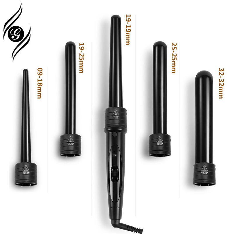 Professional New Magic Hair Curler 10 in 1 Curling Wand Ceramic Interchangeable Curling Wand