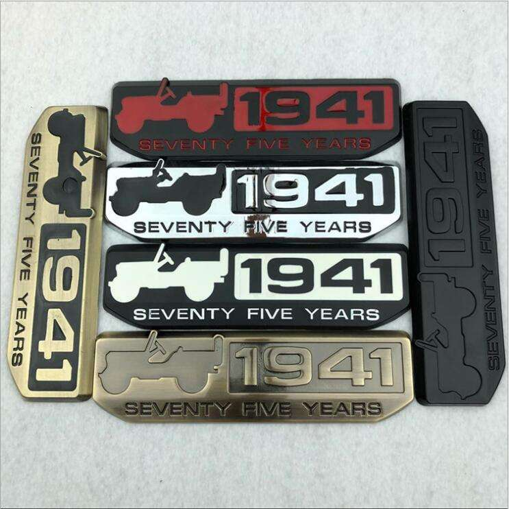 Metal Off-Road 1941 Seventy Five Years Emblem Badge Decal Sticker Jeep Wrangler