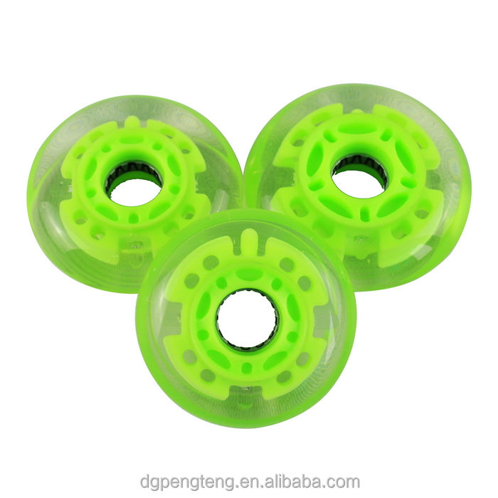 Flashing LED PU inline skate roller wheel