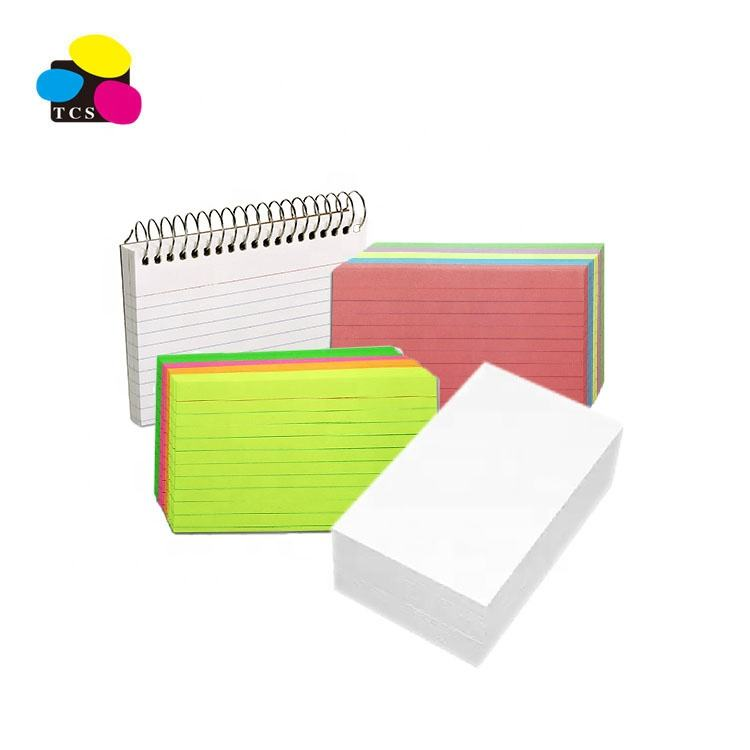 office stationary 3x5 ,4x6, 5x8 paper rainbow neon pack index review cards