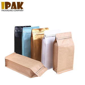 Custom Printed Flat Bottom 1kg Coffee Bag With Valve And Ziplock