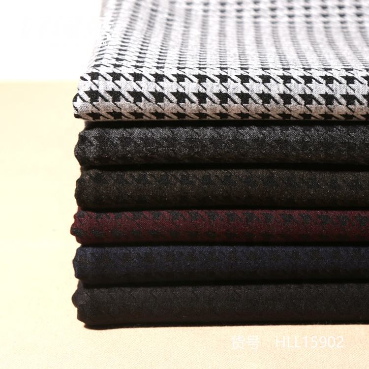 High quality houndstooth jacquard nylon polyester rayon spandex fabric with good properties