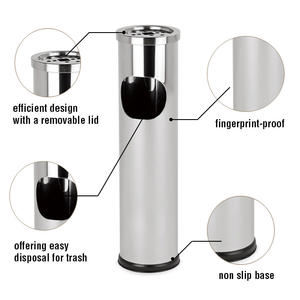 Promotional Hotel Outdoor Standing Ashtray Trash Bin Stainless Steel ashtray bin