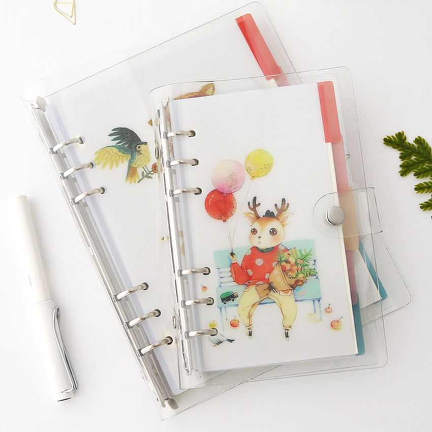 Cheap price transparent PVC cover loose leaf notebook wholesale PVC planner