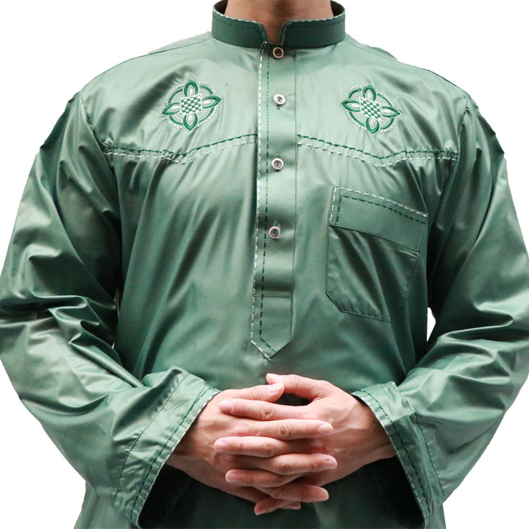 new style islamic muslim men Shiny material al aseel thobe for men with pants
