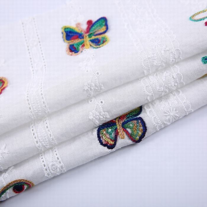 Fashion garment cloth material white plain woven butterfly embroidery fabric in cotton for shirt