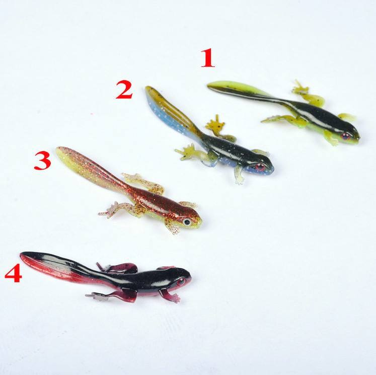 8cm 3.8g Creature Fishing Lure Long Tail 3D Eye Lizard Bait Green Blue Fishing Frog Soft Baits Lures