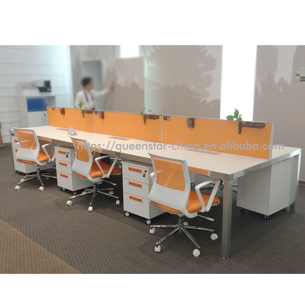QS-OW-BER01 Office furniture 4 or 6 seater office workstation with divider screen office cubicle