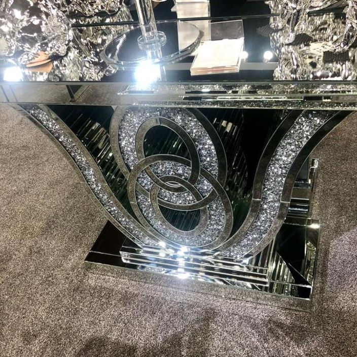 Sparkling modern luxury crushed diamond mirrored console table