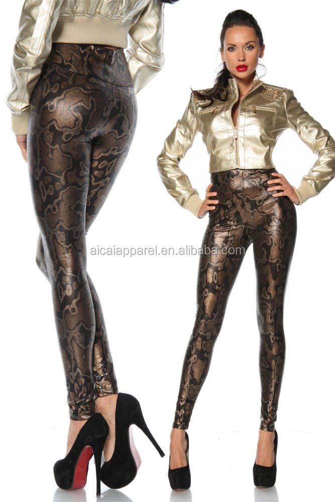 Wholesale 2015 christmas fashion women sexy snake skin leather leggings