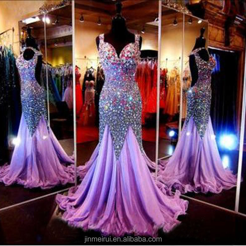 Sparkling dark purple Mermaid Evening Dress 2018 Kristal Beads Evening dresses grosir dibuat di cina